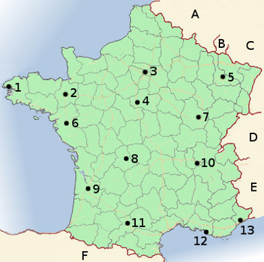 Map of French geography, with cites and surrounding countries